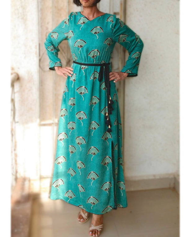 DeeVineeTi Made To Measure Indian Women's Cotton Summer Gathered Aline Green Printed Long Dress With Long Sleeves 6