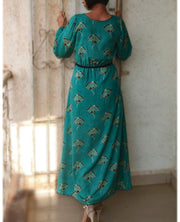 DeeVineeTi Made To Measure Indian Women's Cotton Summer Gathered Aline Green Printed Long Dress With Long Sleeves 7