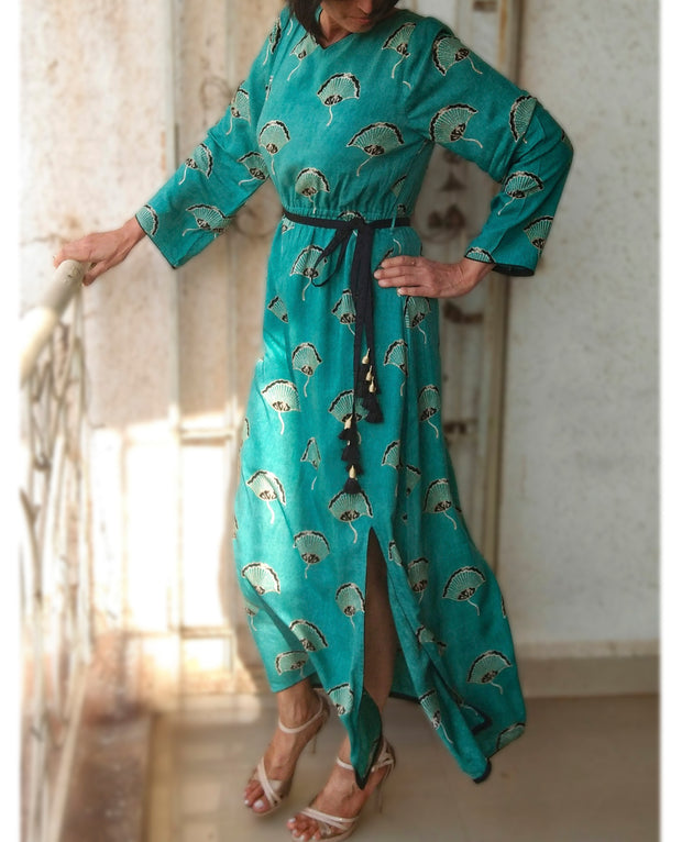 DeeVineeTi Made To Measure Indian Women's Cotton Summer Gathered Aline Green Printed Long Dress With Long Sleeves 8