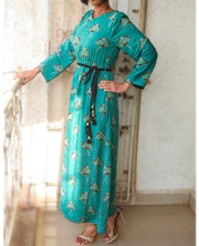 DeeVineeTi Made To Measure Indian Women's Cotton Summer Gathered Aline Green Printed Long Dress With Long Sleeves 9