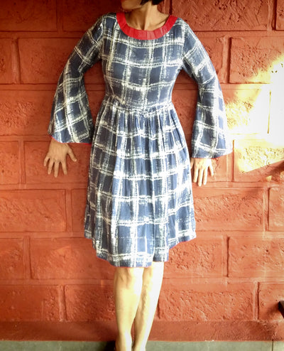 DeeVineeTi Made To Measure Indian Women's Cotton Summer Gathered Blue Checkered Printed Short Dress With Long Bell Sleeves 1