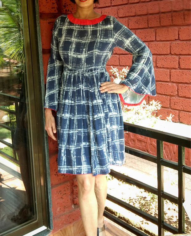 DeeVineeTi Made To Measure Indian Women's Cotton Summer Gathered Blue Checkered Printed Short Dress With Long Bell Sleeves 4