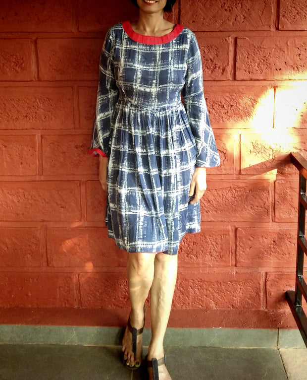 DeeVineeTi Made To Measure Indian Women's Cotton Summer Gathered Blue Checkered Printed Short Dress With Long Bell Sleeves 6