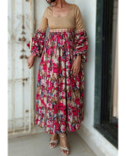DeeVineeTi Made To Measure Indian Women's Cotton Summer Gathered Long Pink and Beige Floral Printed Dress Full Puff Sleeves 2