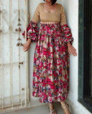 DeeVineeTi Made To Measure Indian Women's Cotton Summer Gathered Long Pink and Beige Floral Printed Dress Full Puff Sleeves 4