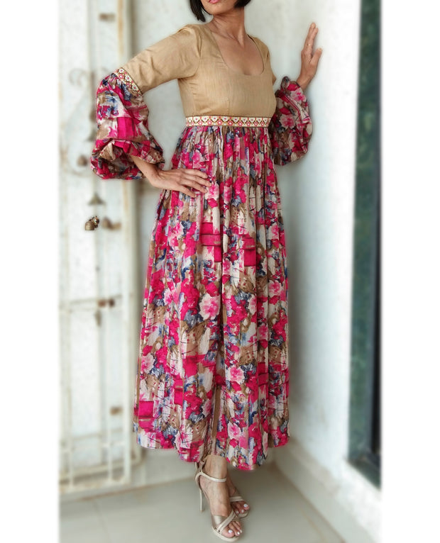 DeeVineeTi Made To Measure Indian Women's Cotton Summer Gathered Long Pink and Beige Floral Printed Dress Full Puff Sleeves 5