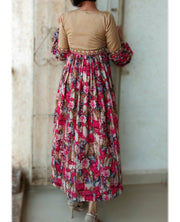 DeeVineeTi Made To Measure Indian Women's Cotton Summer Gathered Long Pink and Beige Floral Printed Dress Full Puff Sleeves 6
