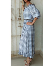 DeeVineeTi Made To Measure Indian Women's Cotton Summer Gathered Off Shoulder Grey Checkered Printed Dress Ruffled Sleeves 4