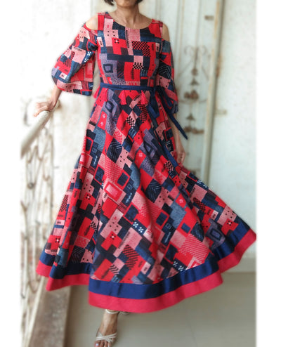 DeeVineeTi Made To Measure Indian Women Cotton Summer Red and Blue Printed Midi Dress With Long Bell Sleeves Cold Shoulder 1