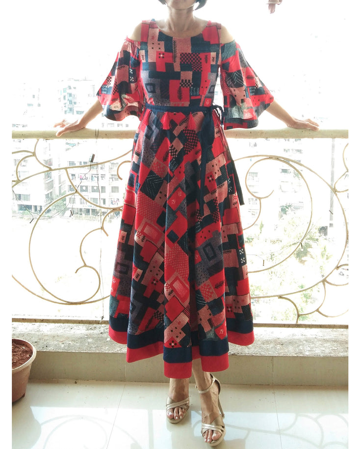 DeeVineeTi Made To Measure Indian Women Cotton Summer Red and Blue Printed Midi Dress With Long Bell Sleeves Cold Shoulder 2