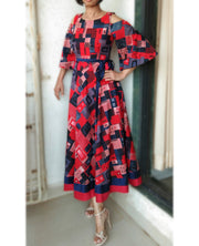 DeeVineeTi Made To Measure Indian Women Cotton Summer Red and Blue Printed Midi Dress With Long Bell Sleeves Cold Shoulder 3