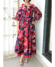 DeeVineeTi Made To Measure Indian Women Cotton Summer Red and Blue Printed Midi Dress With Long Bell Sleeves Cold Shoulder 4