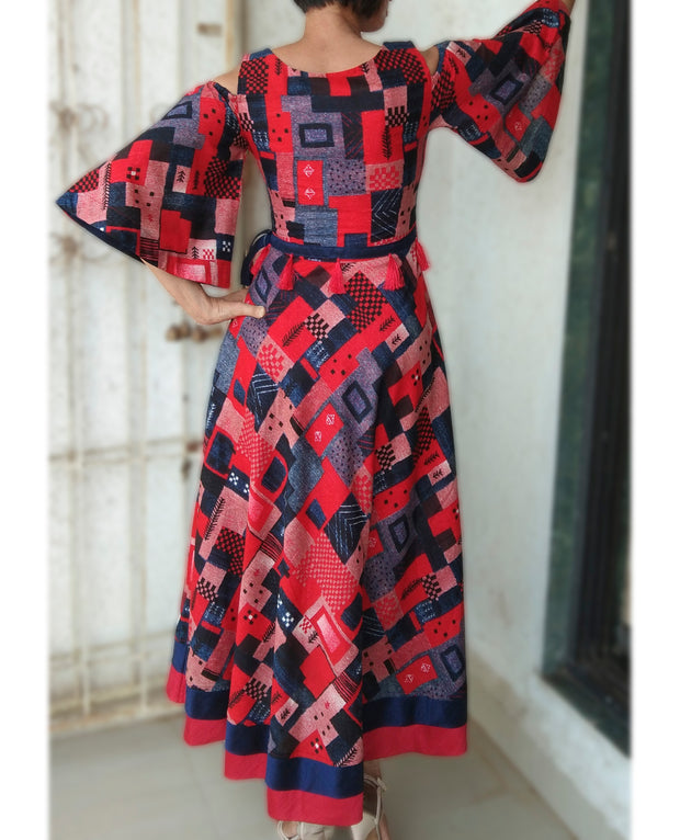 DeeVineeTi Made To Measure Indian Women Cotton Summer Red and Blue Printed Midi Dress With Long Bell Sleeves Cold Shoulder 5
