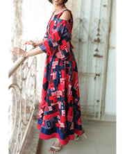 DeeVineeTi Made To Measure Indian Women Cotton Summer Red and Blue Printed Midi Dress With Long Bell Sleeves Cold Shoulder 7