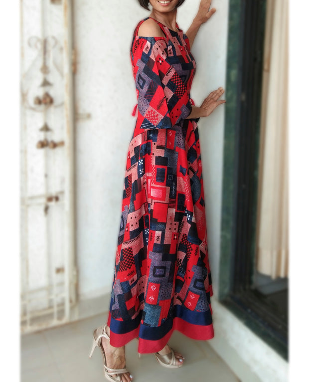 DeeVineeTi Made To Measure Indian Women Cotton Summer Red and Blue Printed Midi Dress With Long Bell Sleeves Cold Shoulder 8