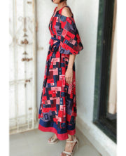 DeeVineeTi Made To Measure Indian Women Cotton Summer Red and Blue Printed Midi Dress With Long Bell Sleeves Cold Shoulder 9