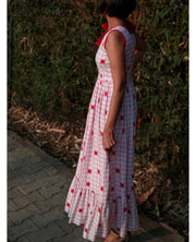 DeeVineeTi Made To Measure Indian Women's Cotton Summer Ruffled Gathered White Checkered Printed Sleeveless Maxi Dress Gown 8