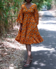 DeeVineeTi Made To Measure Indian Women Cotton Summer Ruffled Yellow Paisley Printed Short Dress With Long Ruffled Sleeves 7