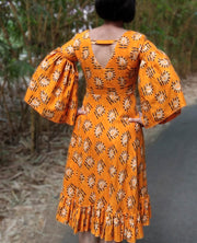 DeeVineeTi Made To Measure Indian Women Cotton Summer Ruffled Yellow Paisley Printed Short Dress With Long Ruffled Sleeves 9