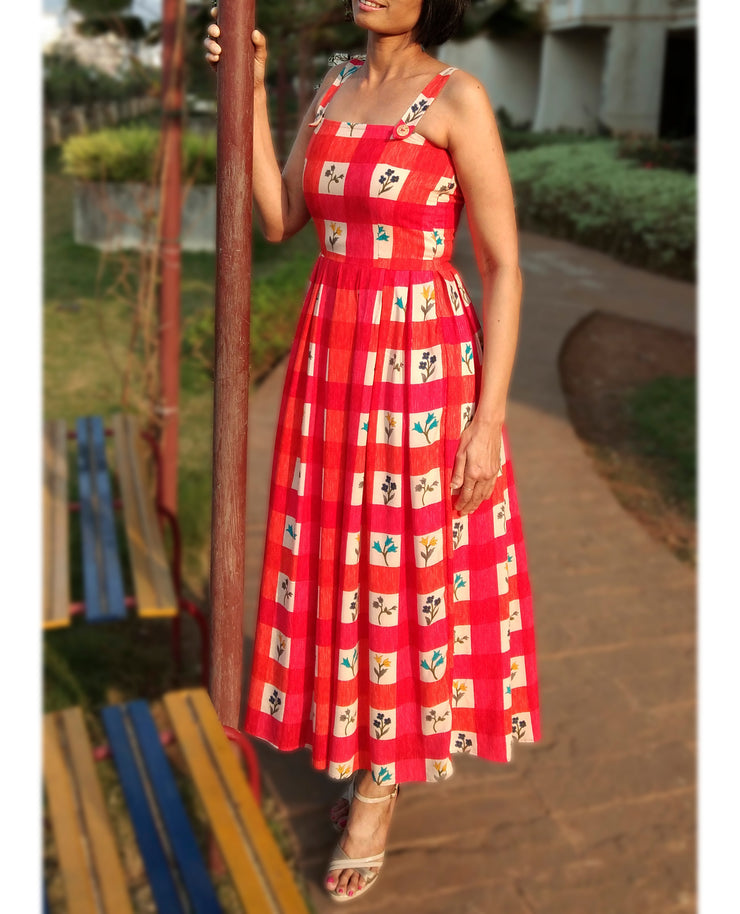 DeeVineeTi Made To Measure Indian Women Cotton Summer Spaghetti-Sleeveless Box Pleated Orange Checkered Printed Midi Dress 3