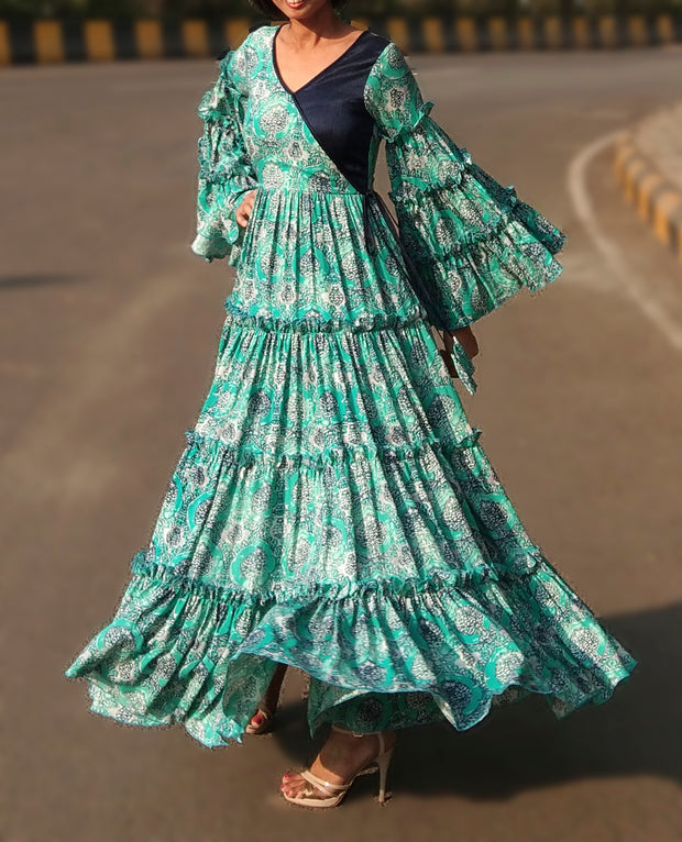 DeeVineeTi Made To Measure Indian Women Cotton Summer Tiered Gathered Green Paisley Printed Maxi Dress Gown Ruffled Sleeves 1
