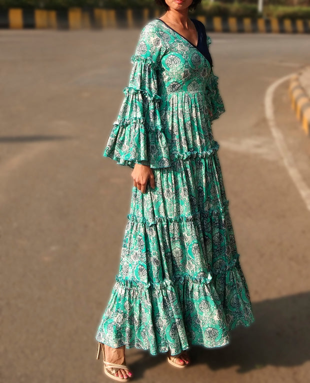 DeeVineeTi Made To Measure Indian Women Cotton Summer Tiered Gathered Green Paisley Printed Maxi Dress Gown Ruffled Sleeves 2