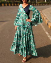 DeeVineeTi Made To Measure Indian Women Cotton Summer Tiered Gathered Green Paisley Printed Maxi Dress Gown Ruffled Sleeves 3