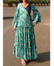 DeeVineeTi Made To Measure Indian Women Cotton Summer Tiered Gathered Green Paisley Printed Maxi Dress Gown Ruffled Sleeves 4