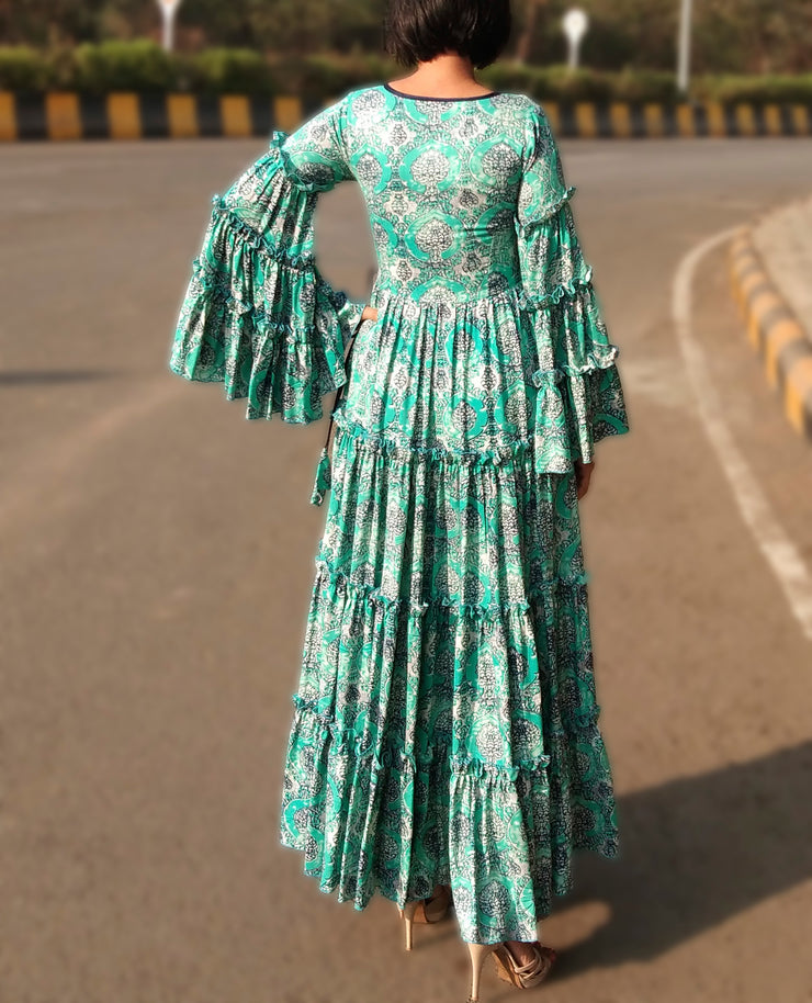 DeeVineeTi Made To Measure Indian Women Cotton Summer Tiered Gathered Green Paisley Printed Maxi Dress Gown Ruffled Sleeves 5
