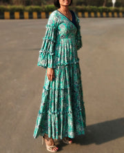 DeeVineeTi Made To Measure Indian Women Cotton Summer Tiered Gathered Green Paisley Printed Maxi Dress Gown Ruffled Sleeves 6