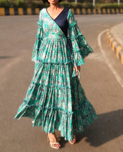 DeeVineeTi Made To Measure Indian Women Cotton Summer Tiered Gathered Green Paisley Printed Maxi Dress Gown Ruffled Sleeves 7
