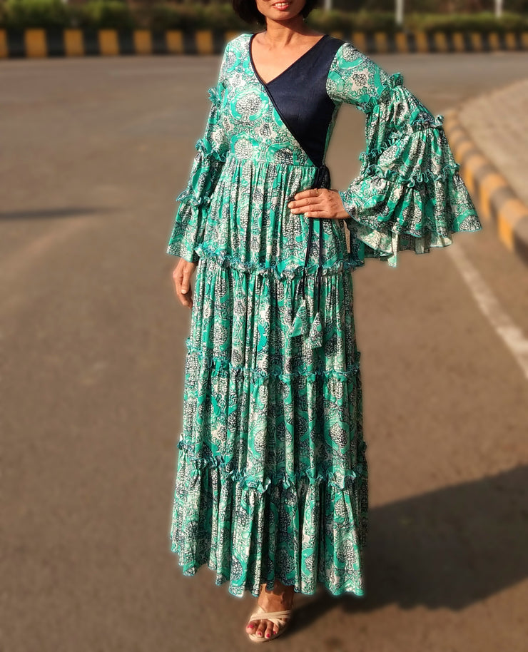 DeeVineeTi Made To Measure Indian Women Cotton Summer Tiered Gathered Green Paisley Printed Maxi Dress Gown Ruffled Sleeves 8