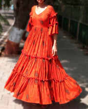 DeeVineeTi Made To Measure Indian Women's Cotton Summer Tiered Gathered Orange Printed Maxi Dress Gown Ruffled Bell Sleeves 1