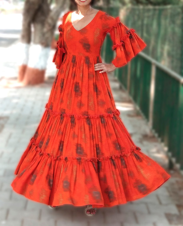 DeeVineeTi Made To Measure Indian Women's Cotton Summer Tiered Gathered Orange Printed Maxi Dress Gown Ruffled Bell Sleeves 3
