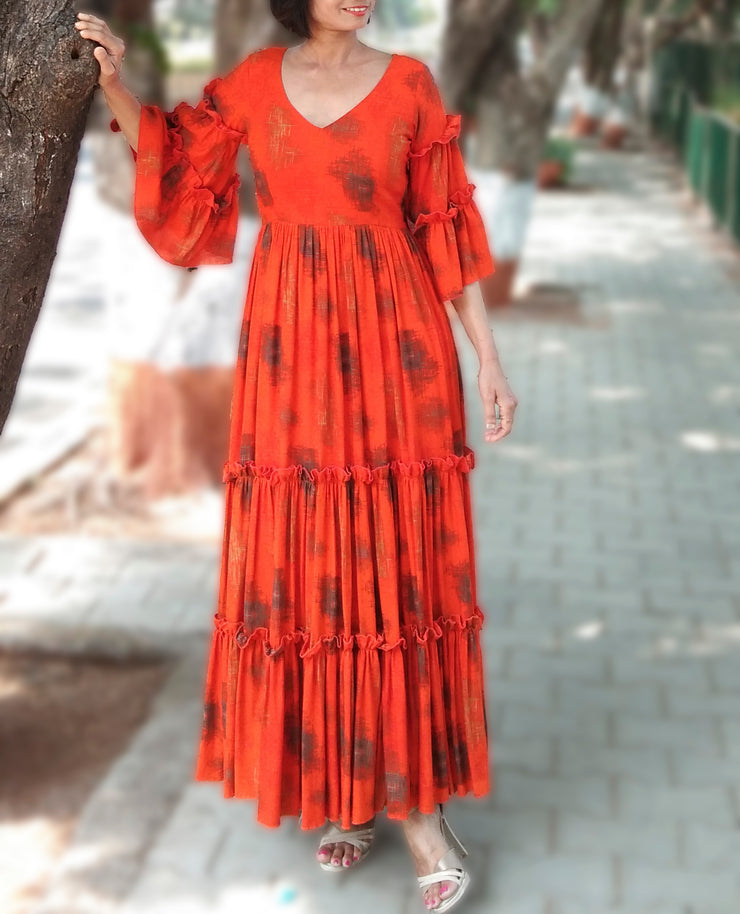 DeeVineeTi Made To Measure Indian Women's Cotton Summer Tiered Gathered Orange Printed Maxi Dress Gown Ruffled Bell Sleeves 4
