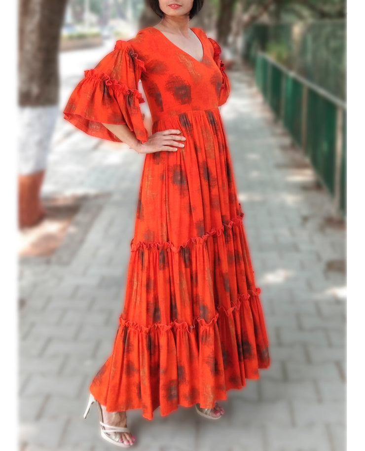 DeeVineeTi Made To Measure Indian Women's Cotton Summer Tiered Gathered Orange Printed Maxi Dress Gown Ruffled Bell Sleeves 5