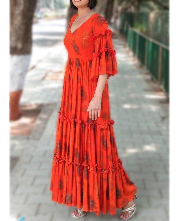 DeeVineeTi Made To Measure Indian Women's Cotton Summer Tiered Gathered Orange Printed Maxi Dress Gown Ruffled Bell Sleeves 6