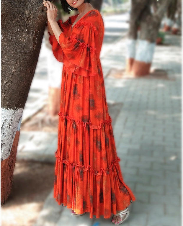 DeeVineeTi Made To Measure Indian Women's Cotton Summer Tiered Gathered Orange Printed Maxi Dress Gown Ruffled Bell Sleeves 7