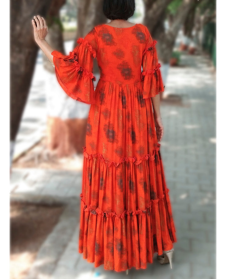 DeeVineeTi Made To Measure Indian Women's Cotton Summer Tiered Gathered Orange Printed Maxi Dress Gown Ruffled Bell Sleeves 8