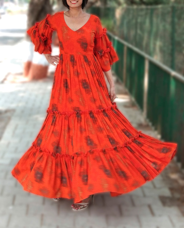 DeeVineeTi Made To Measure Indian Women's Cotton Summer Tiered Gathered Orange Printed Maxi Dress Gown Ruffled Bell Sleeves 9
