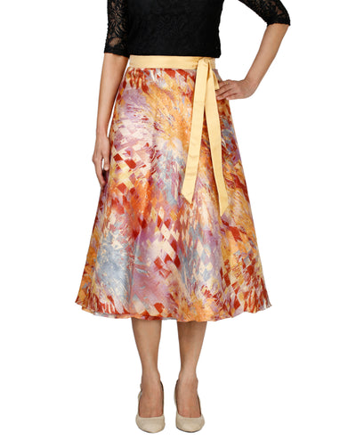 DeeVineeTi Women's Bangalore Silk Multicolor Printed Wrap-Around Skirt Mid-Calf WA000118 Freesize Front