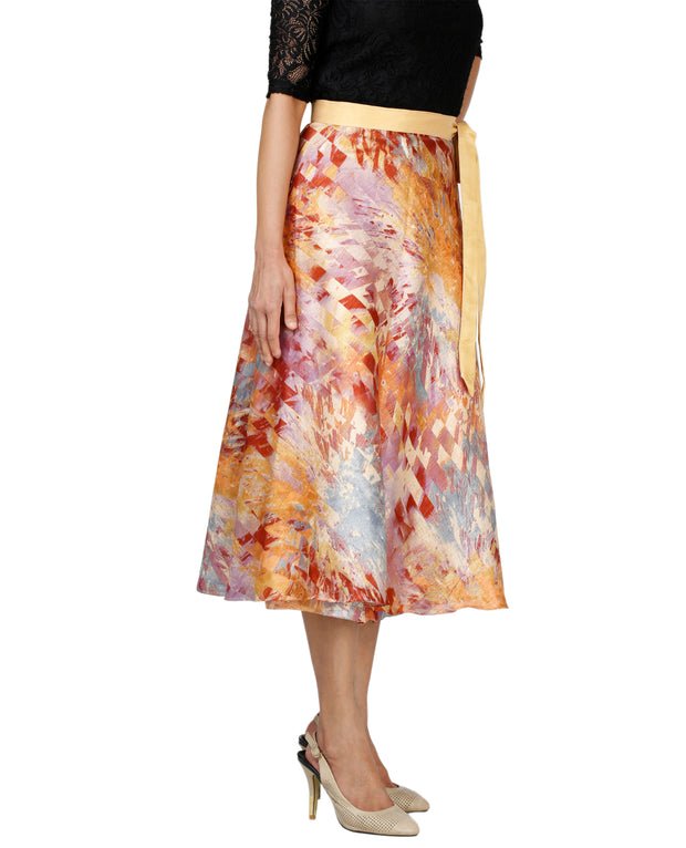 DeeVineeTi Women's Bangalore Silk Multicolor Printed Wrap-Around Skirt Mid-Calf WA000118 Freesize Left