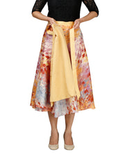 DeeVineeTi Women's Bangalore Silk Multicolor Printed Wrap-Around Skirt Mid-Calf WA000118 Freesize Lined