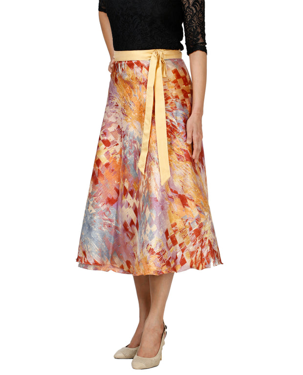 DeeVineeTi Women's Bangalore Silk Multicolor Printed Wrap-Around Skirt Mid-Calf WA000118 Freesize Right