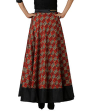 DeeVineeTi Women's Bhagalpuri Red Blended Silk Lehenga Style Maxi Wrap-Around Skirt WA000179 Freesize Ethnic Checkered Back