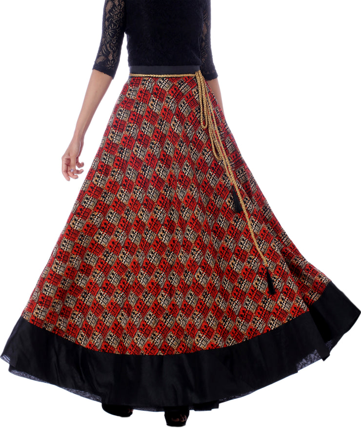 DeeVineeTi Women's Bhagalpuri Red Blended Silk Lehenga Style Maxi Wrap-Around Skirt WA000179 Freesize Ethnic Checkered Front