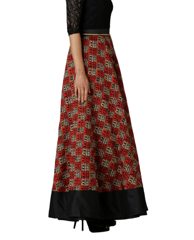 DeeVineeTi Women's Bhagalpuri Red Blended Silk Lehenga Style Maxi Wrap-Around Skirt WA000179 Freesize Ethnic Checkered Left