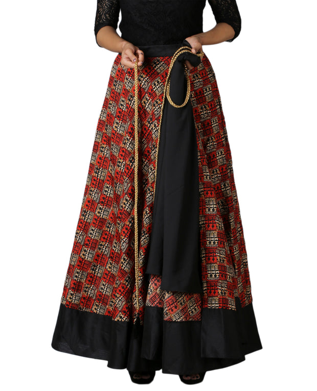 DeeVineeTi Women's Bhagalpuri Red Blended Silk Lehenga Style Maxi Wrap-Around Skirt WA000179 Freesize Ethnic Checkered Lined