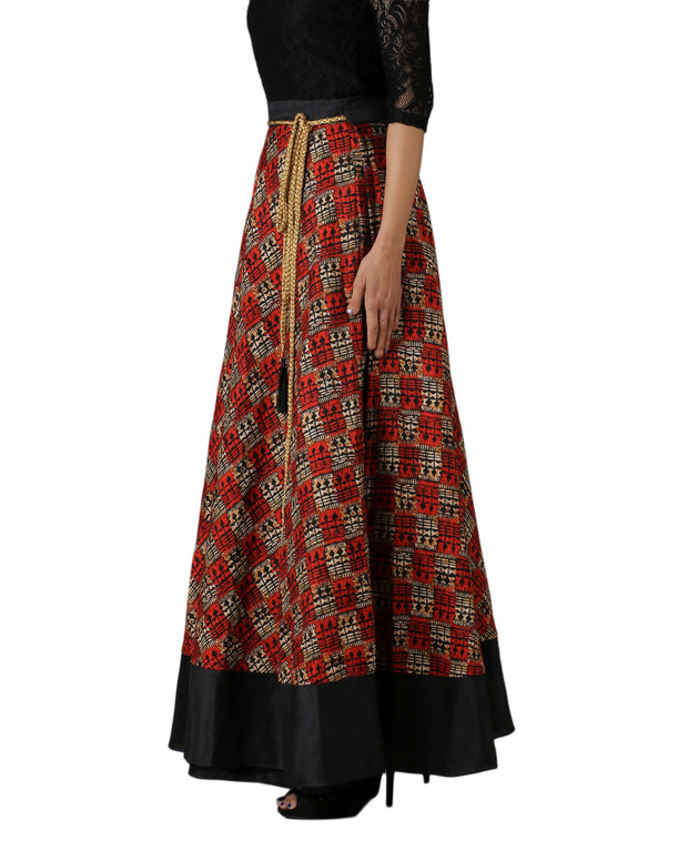 DeeVineeTi Women's Bhagalpuri Red Blended Silk Lehenga Style Maxi Wrap-Around Skirt WA000179 Freesize Ethnic Checkered Right