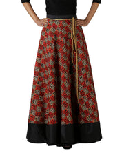 DeeVineeTi Women's Bhagalpuri Red Blended Silk Lehenga Style Maxi Wrap-Around Skirt WA000179 Freesize Ethnic Checkered